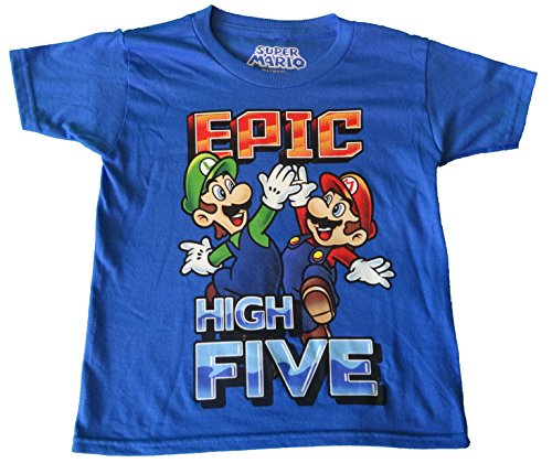 Super Mario Brothers Epic High Five Boys Shirt (Medium)