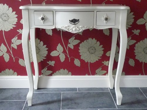 Shabby Chic French Versaille Cream 3 Drawer Dressing Table With Cabriole Legs