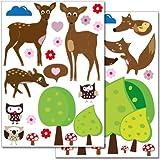 """Set de stickers muraux Wandkings """"Animaux de la forêt mignons"""" - plus de 35 autocollants sur 2 feuilles A4"""