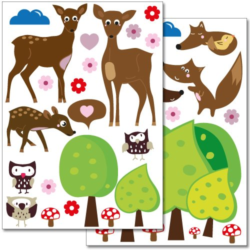 Wandkings wall stickers Cute Forest Animals Sticker Set - more than 35 stickers on 2 US letter sheets (each 8.3 x 11.7 inch)