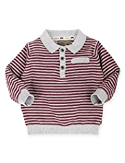 Autograph Pure Cotton Striped Polo Jumper