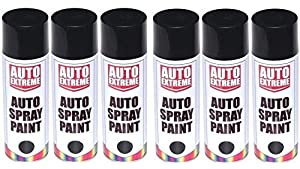 6 x 500ml black gloss spray paint aerosol can auto extreme. Black Bedroom Furniture Sets. Home Design Ideas
