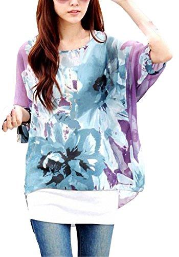Donna Manica 3/4 Bohemian Banda Chiffon Blouse Estate T Shirt Stampa ( Porpora )