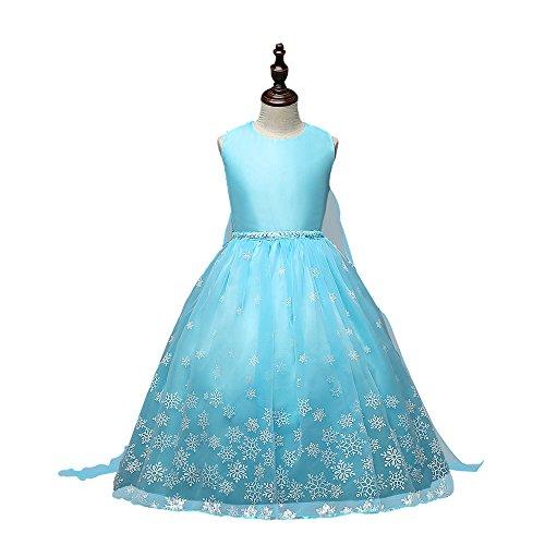 Vicloon Kinderkleider Mädchen Tutu Sommer Eiskönigin Prinzessin Kostüm Festlich Kleider lang Baumwolle Blau