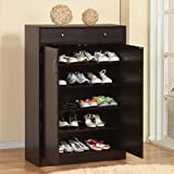 Five Shelf Coffee Bean Finish Shoe Storage Cabinet