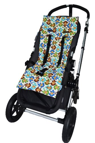 Tivoli Couture Nu Comfort Memory Foam Stroller Pad and Seat Liner, Silly Monkeys blue - 1