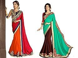 Pragya creations Women's Chiffon Saree (Prag39_Multi)-pack of 2