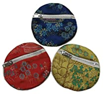 Round chinese embroidered brocade fabric zippered pouch - set of 3 assorted colors, small