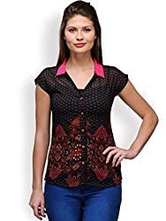 Purplicious Black Printed Shirt Fuchsia Collar