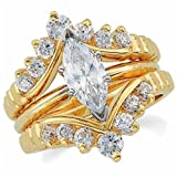 14K Yellow Gold Stylish Diamond Ring Guard Enhancer (Center ring is not included) thumbnail
