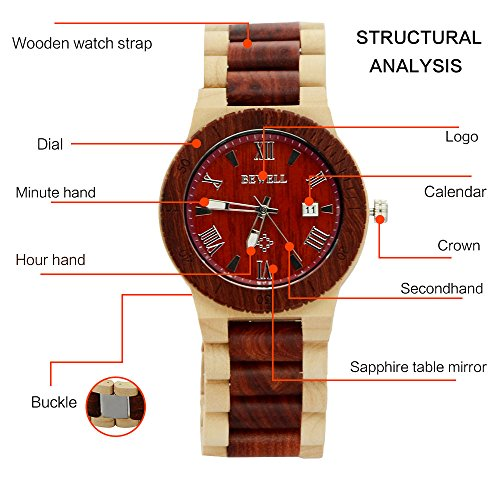 Ideashop Men's White and Red Wood Watches Quartz Retro Antique Wood Wristwatch with Date Function Unique Gift 1