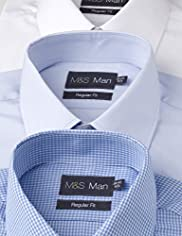 3 Pack Easycare Short Sleeve Plain and Gingham Shirts
