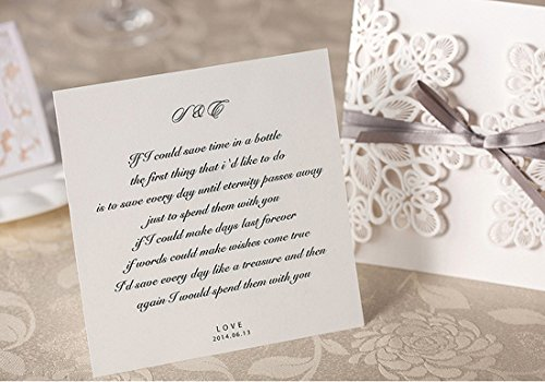 WISHMADE 50 Count Luxury Elegant Laser Cut Invitations Cards Kits White Printable for Wedding Birthday Baby Shower Bridal Shower with Ribbon and Envelopes 4
