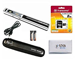 VuPoint Solutions PDS-ST415MS-VP Handheld Magic Wand Portable Scanner, Protective Carrying Case, 8GB Micro SD Card, OCR Software, JPG/PDF, 900DPI, Color/Mono, Document, Photo, Magazine, Book (Silver)