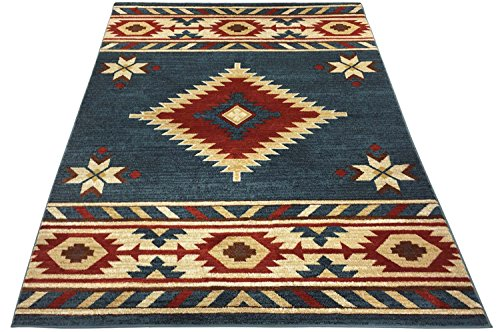 nevita collection southwestern native american design area rug rugs geometric blue 5 x 7 home. Black Bedroom Furniture Sets. Home Design Ideas