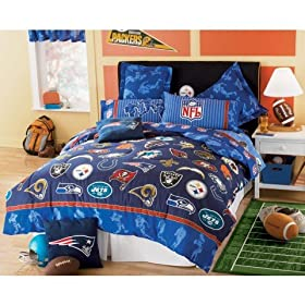 NFL FOOTBALL LOGO 5 PIECE TWIN BEDDING SET, Comforter Sheets 2 Pillowcases NEW NFL Teams Football Boy