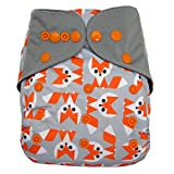 Charcoal Bamboo AIO All In One Cloth Diaper with Pocket (Fox)