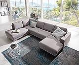 Couch Silas Grau 300x200 cm Ottomane Links Designer...