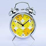 "4"" Non-ticking Loud Alarm Silver Quartz Clock Yellow Orange Round Dot Twin Bell Alarm Clock with Nightlight"