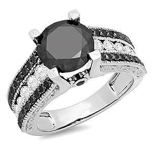 5.00 Carat (ctw) 14K White Gold Round Black & White Diamond Bridal Engagement Ring 5 CT (Size 7.5)