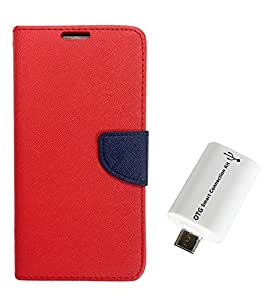 Acase Luxury Mercury Diary Wallet Style Flip Cover Case for Samsung Galaxy ON5 PRO NEW EDITION -Red With otg Cable
