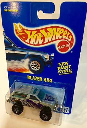 Blazer 4x4 	1995 Hot Wheels 	 #258 Light Blue/grey with Black Construction Wheels on Solid Blue Card - 1