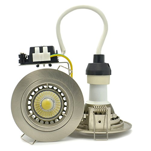 4-Pack Brillight 5W Cob Creexlamp Led Brushed Chrome Recessed Downlight Kit, Warm White 3000 Kelvin