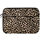 Travel friendly Exotic Leopard Print 13 inch Faux Fur Laptop Sleeve to fit your Toshiba Portega Ultrabook. Exterior is lined with Soft Micro suede and a concealed thick nylon flap to keep your device in place + Vangoddy Live Laugh Love Bracelet + Glossed Wireless Mouse + Universal Earbuds!