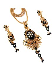 CS Elegantly Handcrafted Kundan Meena  Polkli Fusion Black Pendant Set For Women