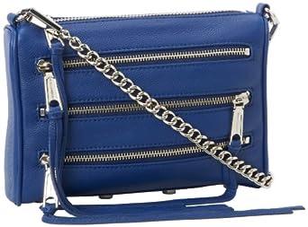 Rebecca Minkoff Mini 5-Zip H020E001 Convertible Cross-Body Handbag,Navy,One Size