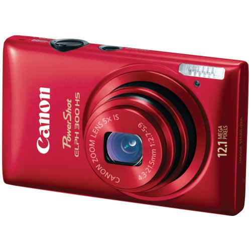 Canon PowerShot ELPH 300 HS 12.1 MP CMOS Digital Camera with 5x Wide-Angle Optical Zoom and Full 1080p HD Video (Red)