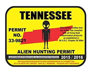 Tennessee alien hunting permit license vinyl for Tennessee fishing license price
