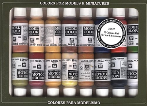 Vallejo Face/Skin Colors Paint Set, 16-Colors, 17ml
