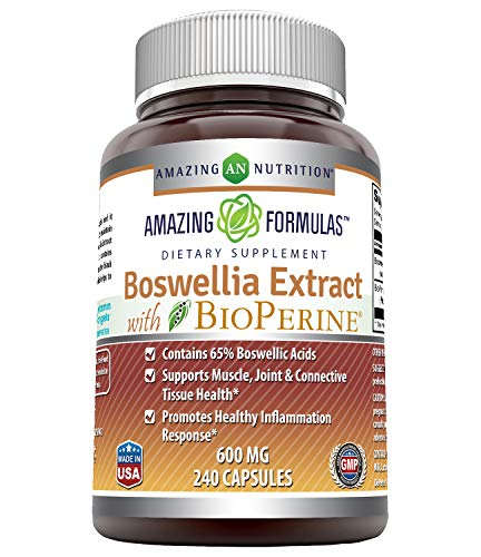 Amazing Formulas Boswellia Extract with Bioperine- 600mg (Standardized to 65% Boswellic Acids), Capsules - Contains 65% Boswellic Acids, Supports Muscle, Joint & Connective Tissue Health (240 Count)