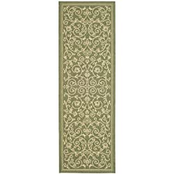 "Patio Indoor Outdoor All Polypropylene CY2098 Olive 2' 4""x 9' 11"" Rug"