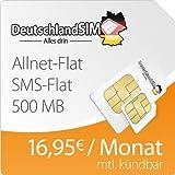 DeutschlandSIM Flat M 500 [SIM und Micro-SIM] monatlich kündbar (500 MB Daten-Flat mit max. 7,2 MBit/s, Telefonie-Flat, SMS-Flat, 16,95 Euro/Monat) O2-Netz