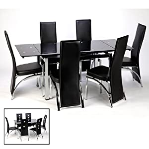 Sarah Extending Dining Table And Chairs In Black Dining Sets