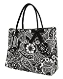 Belvah Extra Large Quilted Floral Paisley Tote Bag - Black & White