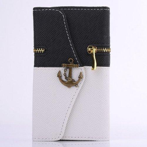 New Fashion Zip Pattern Corsair Hook Wallet Flip Leather Case For Samsung Galaxy S5 I9600 (Black+White)