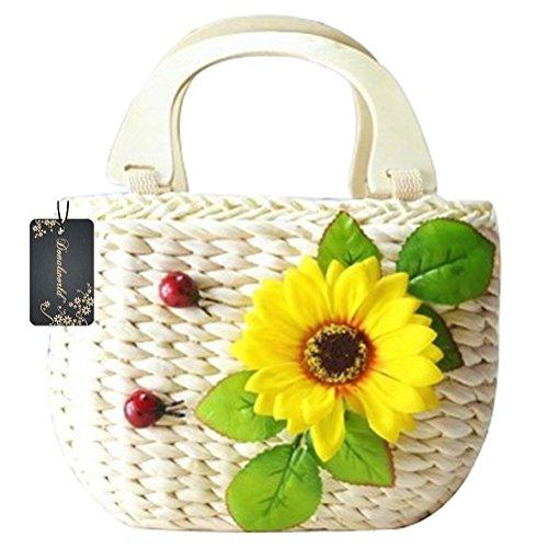 Donalworld Cartoon Handbag Pastoral Natural Corn Husk Small Top-handle Beach Casual Handbag Apricot