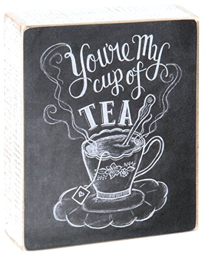 Primitives by Kathy Chalk Sign, 4-Inch by 5-Inch, Cup of Tea