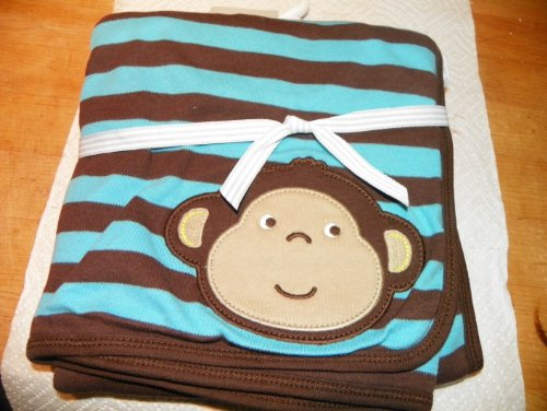 Carter'S 2-Ply Monkey Striped Baby Blanket Teal And Brown front-174368