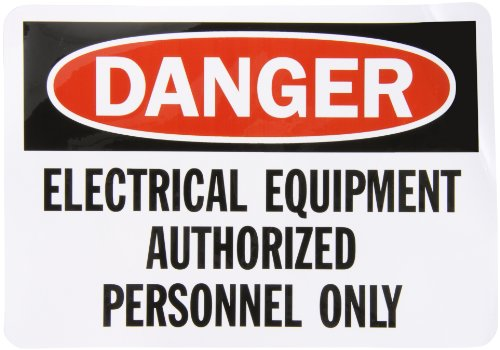 "Smartsign Adhesive Vinyl Osha Safety Sign, Legend ""Danger: Electrical Equipment"", 7"" High X 10"" Wide, Black/Red On White"