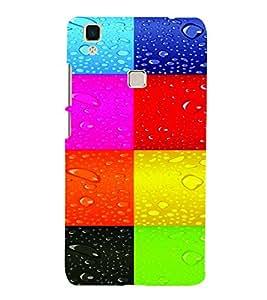 PrintVisa Corporate Print & Pattern Rain Colorful 3D Hard Polycarbonate Designer Back Case Cover for VivoV3
