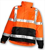 """ICON Fluorescent 48"""" Coat or Jacket with Attached Hood and Overall Snap Fly Front with Silver Reflective Tape - 5.5oz. Mat'l Wt. - 12 Mil Thick"""