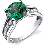 Revoni Solitaire Style 1.75 carats Emerald Ring in Sterling Silver Rhodium Finish