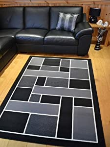 Trend Black And Silver Grey Square Design Rug. 8 Sizes Available (160cm x 225cm)