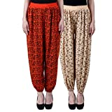 NumBrave Printed Viscose Orange & Beige Harem Pants (Pack of 2)