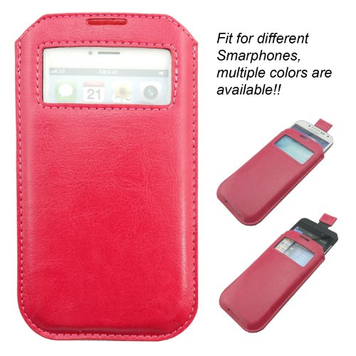 The Good Smartphone / mobile phone leather case bag, which fit different smartphone like iphone 5, iphone 4, iphone 4S, Samsung mobile phone, Nokia mobile phone, HTC mobile phone, Blackberry handset, etc. Order and get bonus: stylish touch pen for smart phone!! (tiefes Rosa)