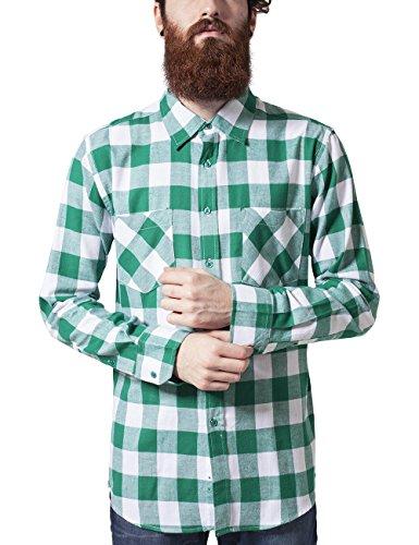 Urban Classics Herren Regular Fit Freizeit Hemd Checked Flanell Shirt, Gr. Kragenweite: 45 cm (Herstellergröße: XL), Türkis (wht/grn 229)